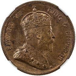 STRAITS SETTLEMENTS: Edward VII, 1901-1910, cent, 1908. NGC MS63