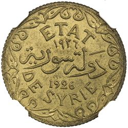 SYRIA: aluminum-bronze 5 piastres, 1926. NGC MS64