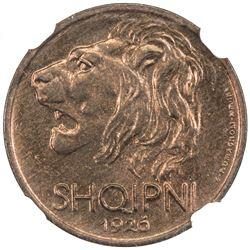 ALBANIA: 5 qindar leku, 1926-R