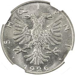 ALBANIA: 1/2 leku, 1926-R. NGC MS66