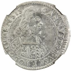 OLMUTZ: Karl II von Liechtenstein-Kastelkorn, 1664-1695, AR 3 kreuzer, 1665. NGC MS63