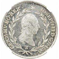 AUSTRIA: Joseph II, 1780-1790, AR 10 kreuzer, 1787-B. NGC MS65