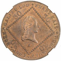 AUSTRIA: Franz II, 1792-1835, AE 30 kreuzer, 1807-A. NGC MS65
