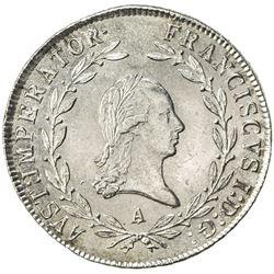 AUSTRIA: Franz I, 1806-1835, AR 20 kreuzer (6.68g), Vienna, 1814-A. UNC