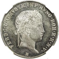 AUSTRIA: Ferdinand I, 1835-1848, AR 20 kreuzer, 1842-M. NGC MS64