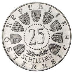 AUSTRIA: Republic, AR 25 schilling, 1964. PF