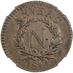 ANTWERP: Napoleon I, as Emperor, 1804-1814, AE 5 centimes, Anvers, 1814. NGC AU53