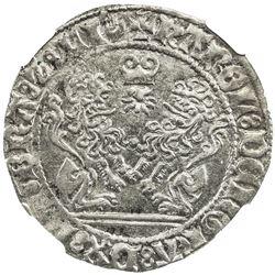BRABANT: Charles le Temeraire, 1467-1477, AR double briquet, Antwerp, 1476. NGC MS61