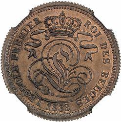 BELGIUM: Leopold I, 1831-1865, AE 2 centimes, 1833. NGC MS66