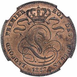 BELGIUM: Leopold I, 1831-1865, AE 5 centimes, 1857. NGC MS65