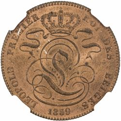 BELGIUM: Leopold I, 1831-1865, AE 5 centimes, 1859. NGC MS64