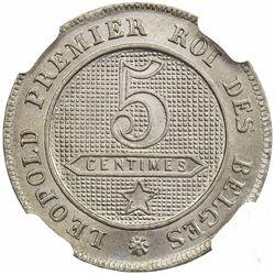 BELGIUM: Leopold II, 1865-1909, 5 centimes, 1863. NGC MS66
