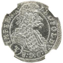 BOHEMIA: Leopold I, 1657-1705, AR 3 kreuzer, 1698. NGC MS63