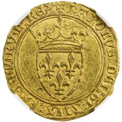 FRANCE: Charles VI, 1380-1422, AV ecu d'or a la couronne. NGC MS63