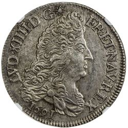 FRANCE: Louis XIV, 1643-1715, AR 1/2 ecu, 1691-H. NGC AU