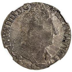 FRANCE: Louis XIV, 1643-1715, AR 1/4 ecu, Nantes, 1708-T. NGC AU55