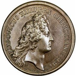 FRANCE: Louis XIV, 1643-1715, AE medal (27.25g), 1672. UNC