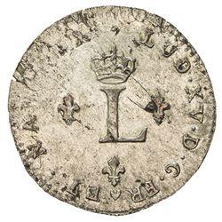 FRANCE: Louis XV, 1715-1774, BI 2 sols (2.34g), Strassbourg, 1762-BB. AU
