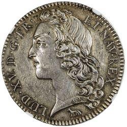 FRANCE: Louis XV, 1715-1774, AR 1/2 ecu, Paris, 1741-A, attractive golden toning, NGC AU
