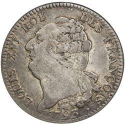 FRANCE: First French Republic, AR ecu, 1793-A. NGC AU50