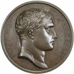 FRANCE: Napoleon I, Emperor, 1804-1814, AE medal (40.03g), 1807. AU