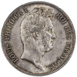 FRANCE: Louis Philippe, 1830-1848, AR 5 francs, Paris, 1830-A. PCGS MS63