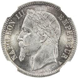 FRANCE: Napoleon III, 1852-1870, AR franc, 1866-A. NGC MS64