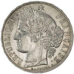 FRANCE: Third Republic, AR 5 francs, Paris, 1870-A. EF-AU