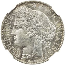 FRANCE: Third Republic, AR franc, 1888-A. NGC MS66