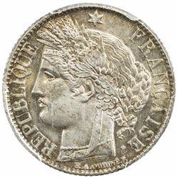 FRANCE: Third Republic, AR franc, 1888-A. PCGS MS64