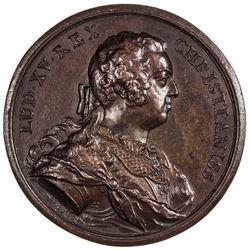 FRANCE: Louis XV, 1715-1774, bronze medal (57.86g), 1740. AU