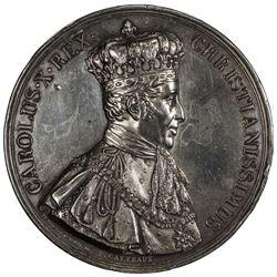 FRANCE: Charles X, 1824-1830, AR medal (83.5g), 1825. EF