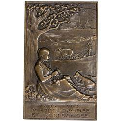 FRANCE: bronze plaque, 1903. AU