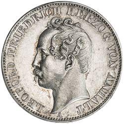 ANHALT-DESSAU: Leopold IV, 1863-1871, AR thaler, 1866. AU