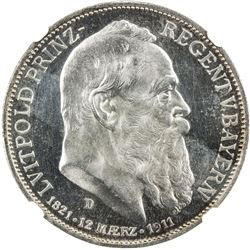 BAVARIA: Luitpold, Prince Regent, 1886-1912, AR 3 mark, 1911-D. NGC PF63