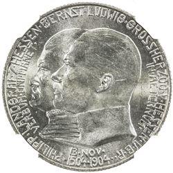 HESSE-DARMSTADT: Ernest Louis, 1892-1918, AR 2 mark, 1904. NGC MS64