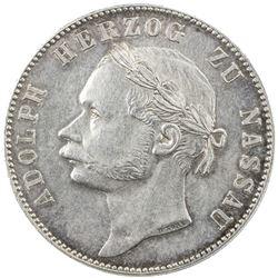 NASSAU: Adolph, 1839-1866, AR thaler, 1864. EF-AU