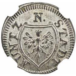 NUREMBERG: Free City, BI 4 pfennig (0.80g), 1765. NGC MS64