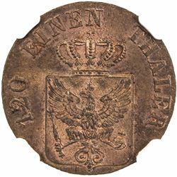 PRUSSIA: Friedrich Wilhelm III, 1797-1840, AE 3 pfennig, 1835-A. NGC MS64