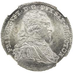 SAXONY: Friedrich August III, 1763-1806, AR 1/3 thaler, 1797. NGC MS64