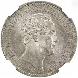 SAXONY: Friedrich August II, 1836-1854, AR 1/6 thaler, 1851-F. NGC MS66