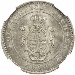 SAXONY: Johann, 1854-1873, AR 2 neu-groschen, 1866-B. NGC MS66