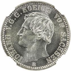 SAXONY: Johann, 1854-1873, AR 1/6 thaler, 1863-B. NGC MS64