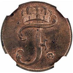 SAXE-GOTHA-ALTENBURG: Friedrich III, 1732-1772, AE 1 pfennig, 1760-K. NGC MS64