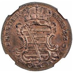 SAXE-GOTHA-ALTENBURG: Friedrich III, 1732-1772, AE 1 1/2 pfennig, 1755-K. NGC MS64