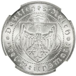 GERMANY: Weimar Republic, AR 3 mark, 1930-A. NGC MS65