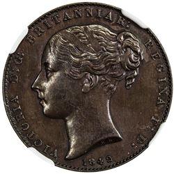 GIBRALTAR: Victoria, 1837-1901, AE quart, 1842/0. NGC MS61
