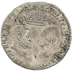 ENGLAND: Philip and Mary, 1554-1558, AR sixpence, 1554. F