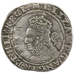 ENGLAND: Elizabeth I, 1558-1603, AR sixpence, 1594. F-VF