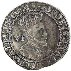 ENGLAND: James I, 1603-1625, AR sixpence, 1603. VF
